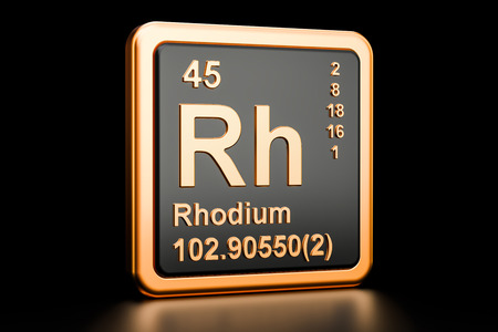 Rhodium Rh chemical element, 3D rendering isolated on black background Stock Photo