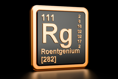 Roentgenium Rg, chemical element. 3D rendering isolated on black background