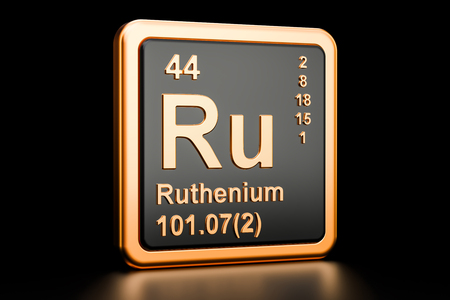 Ruthenium Ru chemical element. 3D rendering isolated on black background
