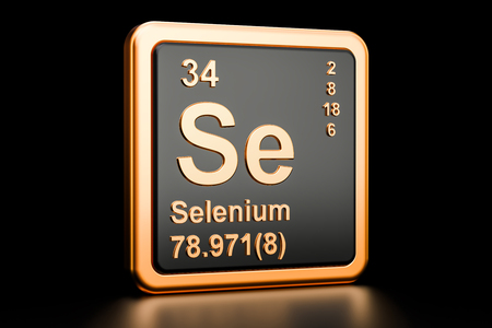 Selenium Se, chemical element. 3D rendering isolated on black background