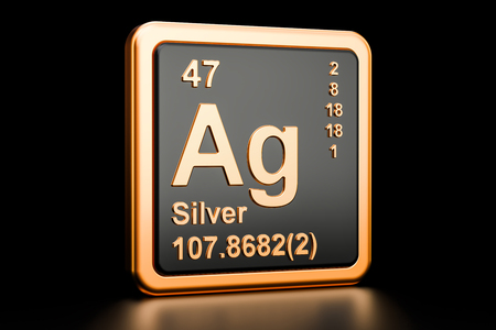 Silver Ag chemical element. 3D rendering isolated on black background Stok Fotoğraf
