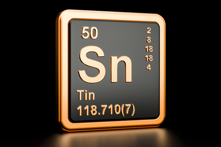 Tin, stannum Sn, chemical element. 3D rendering isolated on black background