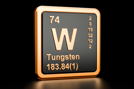 Tungsten W, wolfram chemical element. 3D rendering isolated on black background