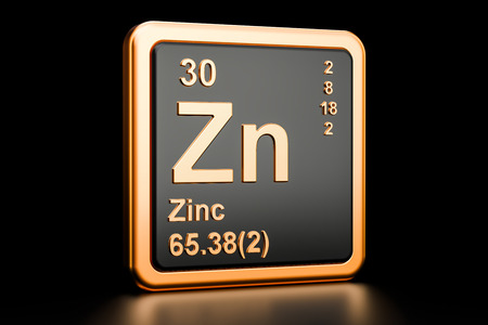 Zinc Zn, chemical element. 3D rendering isolated on black background Stok Fotoğraf