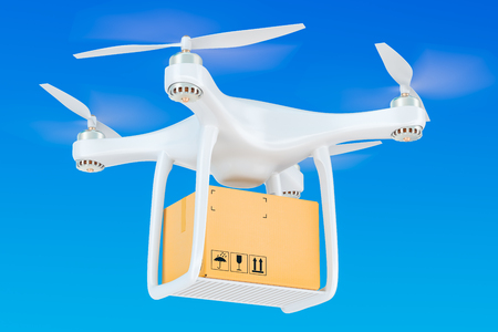 Delivery drone with a parcel in the blue sky, 3D rendering
