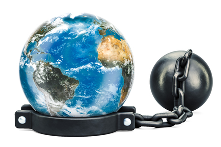 Earth Globe with prison shackle, 3D rendering isolated on white background Stock Photo