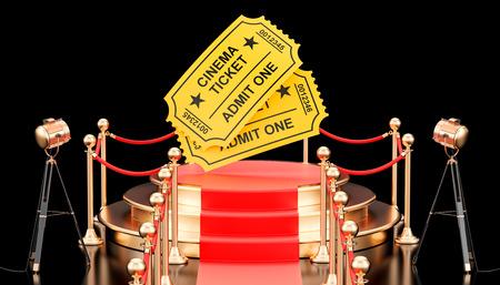 Movie Presentation concept. Podium with cinema tickets. 3D rendering