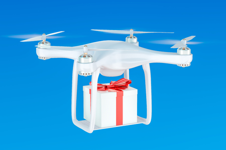 Delivery drone with a gift box in the blue sky, 3D rendering