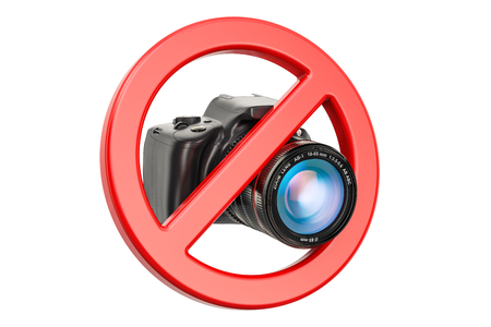 No photo concept. Forbidden sign with digital camera, 3D rendering isolated on white background