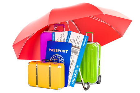 Travel insurance concept, passport with tickets and suitcases under umbrella. 3D rendering
