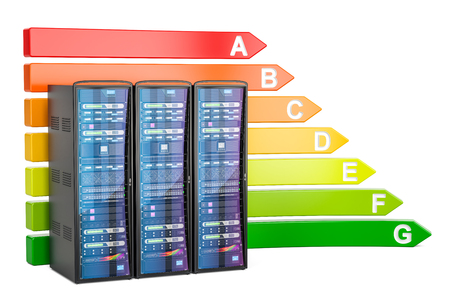 Energy efficiency chart with computer server racks, 3D rendering isolated on white background Stock Photo