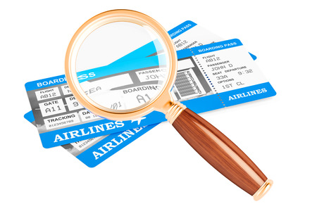 Searching for air tickets concept, 3D rendering isolated on white background Stock Photo