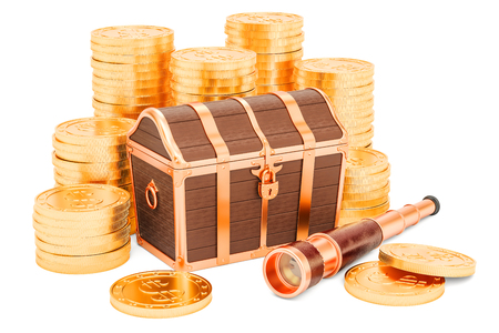 Treasure chest with gold coins and brass hand held telescope, 3D rendering isolated on white background