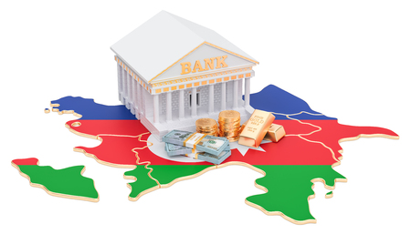 Banking system in Azerbaijan concept. 3D rendering isolated on white background Stock Photo