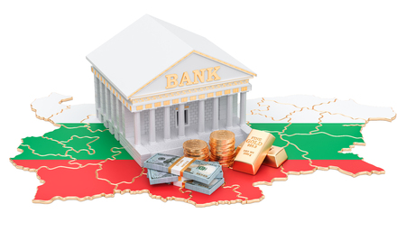 Banking system in Bulgaria concept. 3D rendering isolated on white background