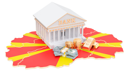 Banking system in Macedonia concept. 3D rendering isolated on white background