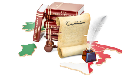 Constitution of Italy concept, 3D rendering