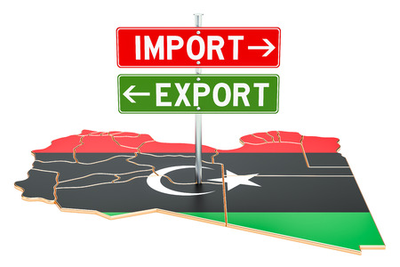 Import and export in Libya concept, 3D rendering isolated on white background