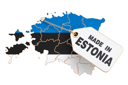 Made in Estonia concept, 3D rendering isolated on white background Stock Photo