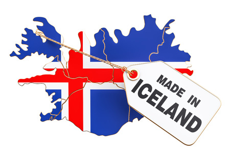 Made in Iceland concept, 3D rendering isolated on white background