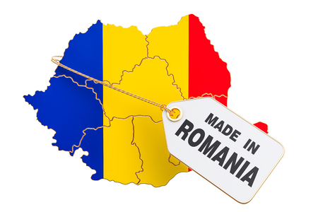 Made in Romania concept, 3D rendering isolated on white background