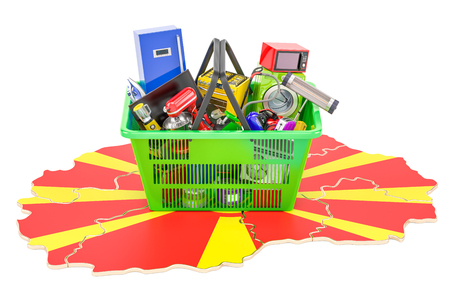 Map of Macedonia with shopping basket full of home and kitchen appliances, 3D rendering