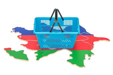 Shopping basket on Azerbaijan map, market basket or purchasing power concept. 3D rendering Stock Photo