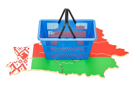 Shopping basket on Belorussian map, market basket or purchasing power concept. 3D rendering Stock Photo