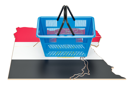 Shopping basket on Egyptian map, market basket or purchasing power concept. 3D rendering Stock Photo