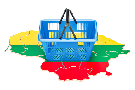 Shopping basket on Lithuanian map, market basket or purchasing power concept. 3D rendering