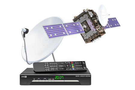 Digital satellite receiver with satellite and satellite dish. 3D rendering  isolated on white background