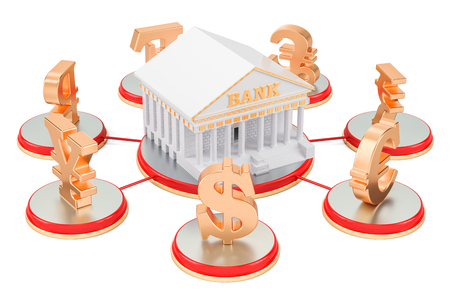Banking service concept, currency symbols around bank. 3D rendering Stock Photo