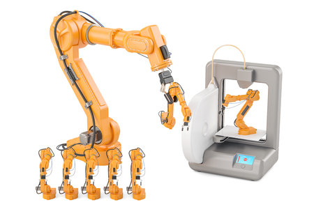 Robotic arms with 3D printer, 3D rendering isolated on white background
