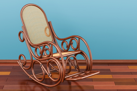 Rocking chair on the wooden floor, 3D rendering   Stock Photo