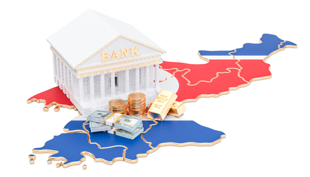 Banking system in North Korea concept. 3D rendering isolated on white background Stock Photo