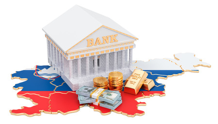 Banking system in Slovenia concept. 3D rendering isolated on white background