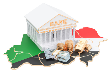 Banking system in Sudan concept. 3D rendering isolated on white background