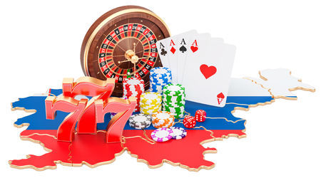 Casino and gambling industry in Slovenia concept, 3D rendering isolated on white background
