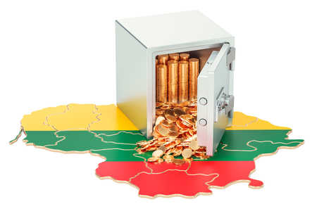 Safe box with golden coins on the map of Lithuania, 3D rendering