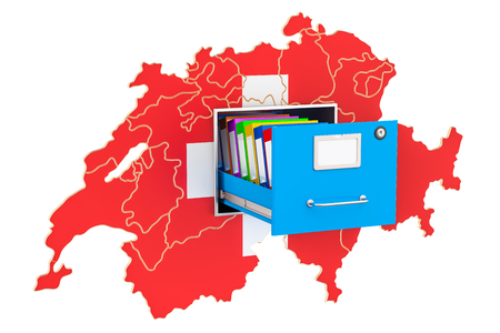 Swiss national database concept, 3D rendering isolated on white background Archivio Fotografico