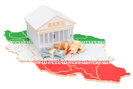 Banking system in Iran concept. 3D rendering isolated on white background