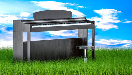 Digital piano with chair in green grass against blue sky, 3d rendering