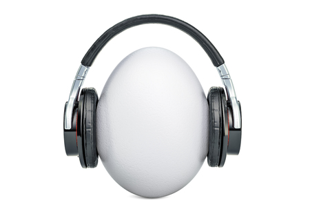 Egg with headphones 3D rendering isolated on white background Stock Photo