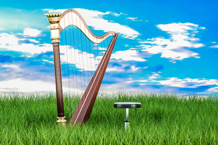 Harp in green grass against blue sky, 3d rendering   Stock Photo