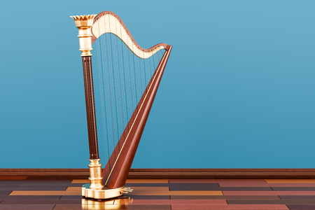 Harp on the wooden floor in the room, 3D rendering