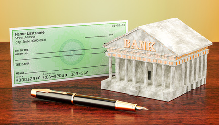 Banking system, cheque with fountain pen. 3D rendering