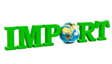 Global import concept, green inscription with Earth Globe. 3D rendering isolated on white background Stock Photo
