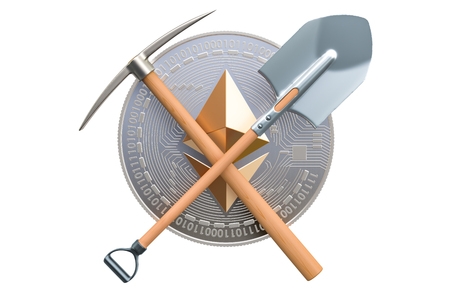 Ethereum mining concept, 3D rendering isolated on white background
