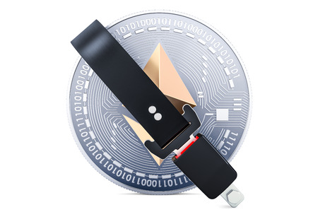 Ethereum coin with safety belt. Security and protection concept, 3D rendering isolated on white background 写真素材