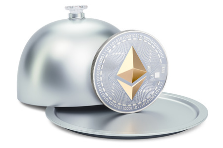 Restaurant cloche with ethereum coin, 3D rendering isolated on white background